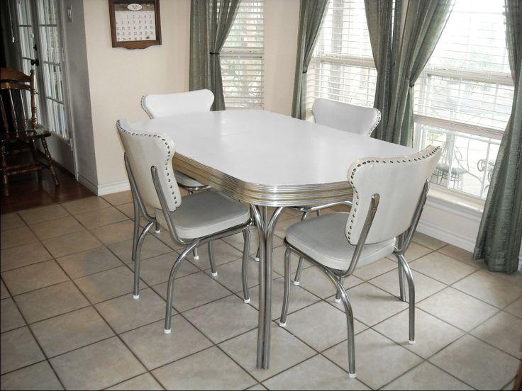white retro kitchen chairs photo - 10