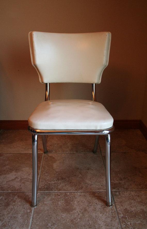 white retro kitchen chairs photo - 6