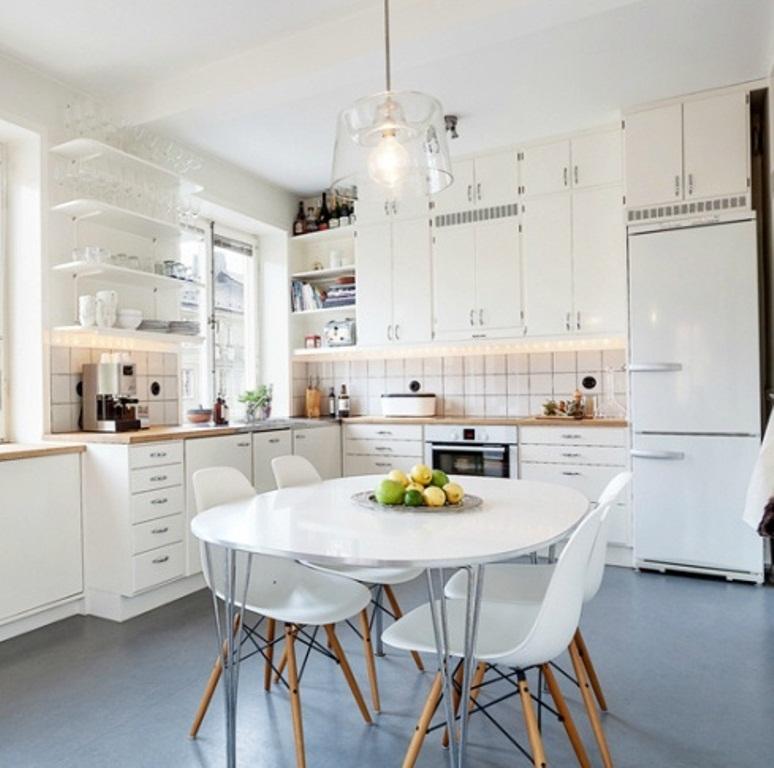 white retro kitchen chairs photo - 9