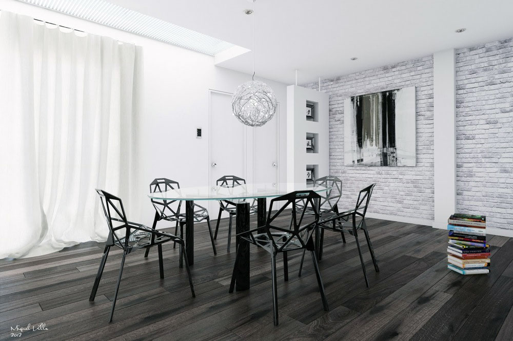 white room with black furniture photo - 10
