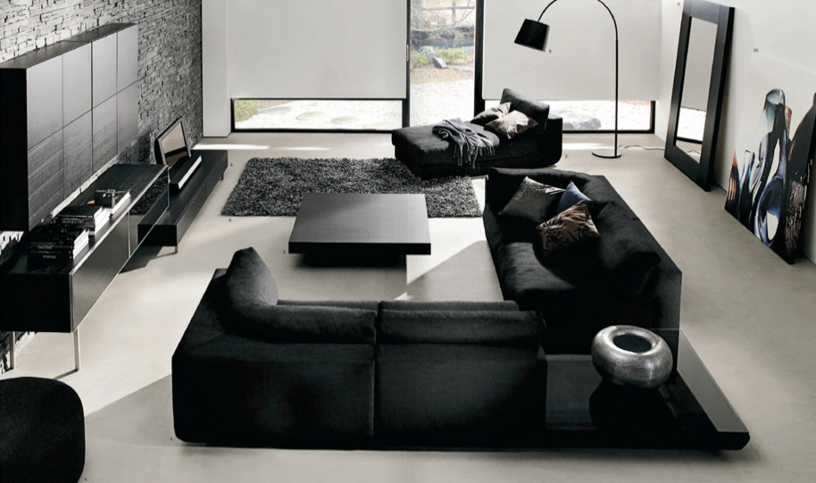white room with black furniture photo - 2