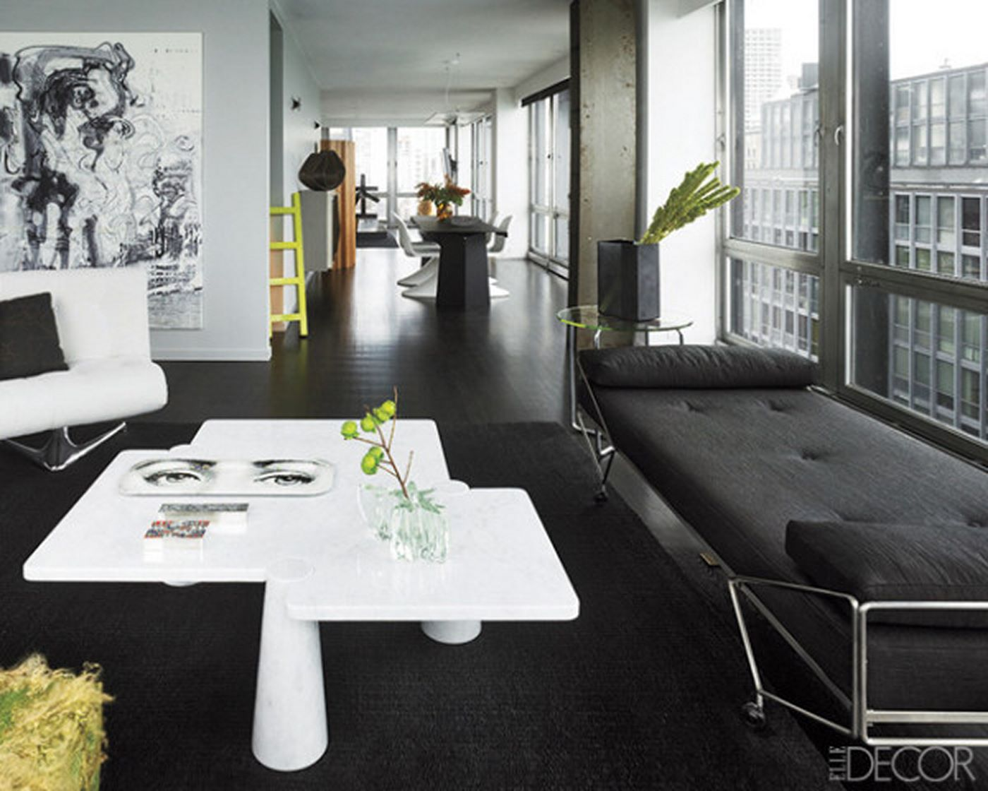 white room with black furniture photo - 3