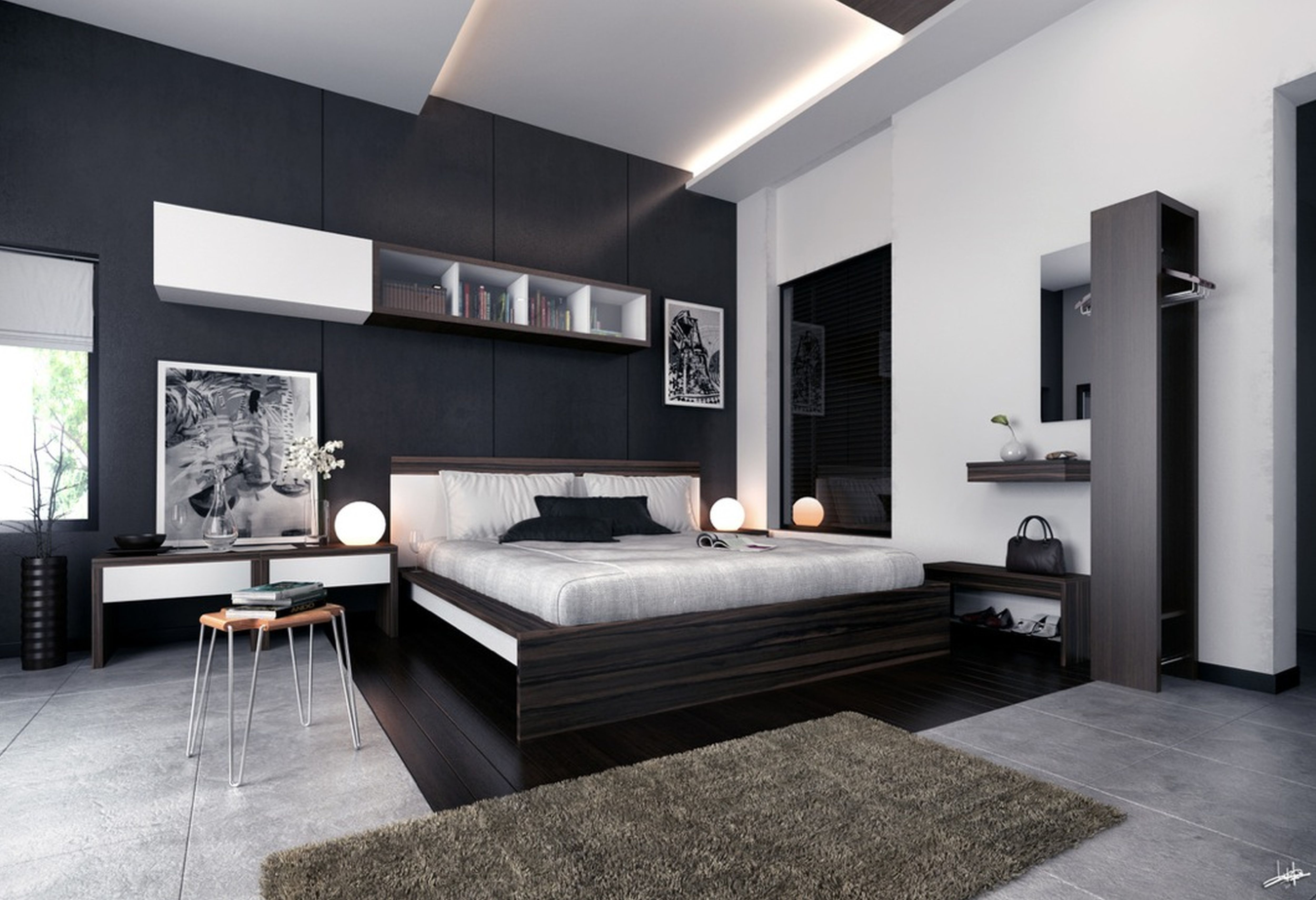 white room with black furniture photo - 4