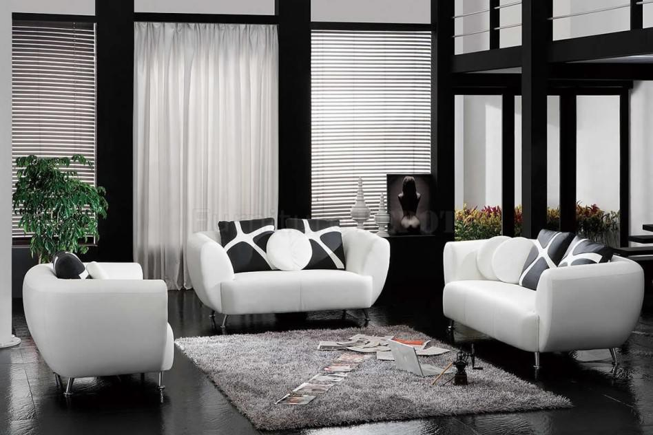 white room with black furniture photo - 8