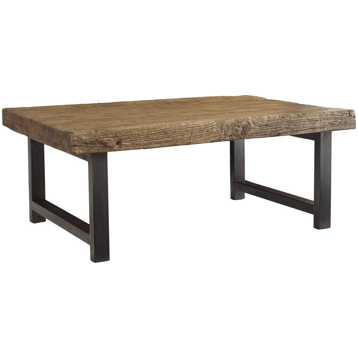 wood coffee table metal legs photo - 3
