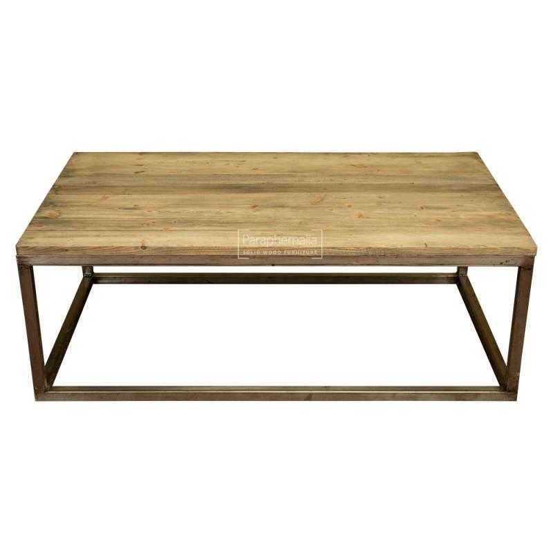 wood coffee table metal legs photo - 5
