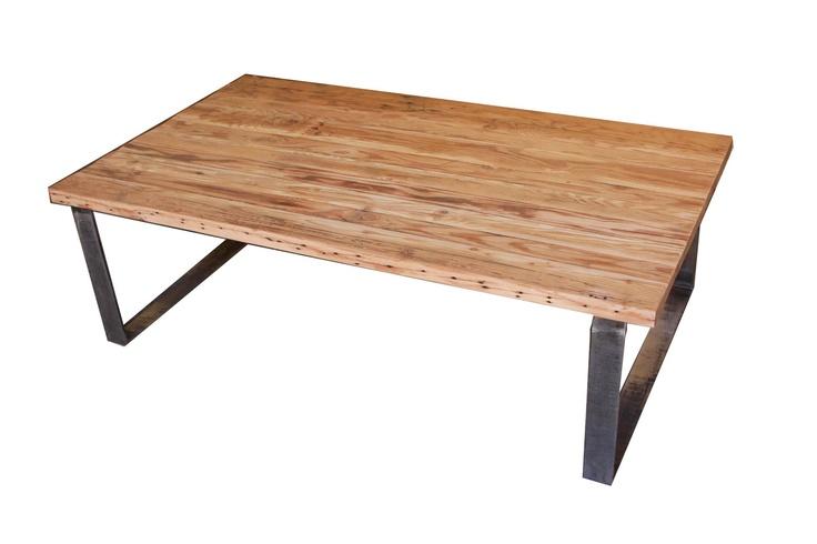wood coffee table metal legs photo - 8