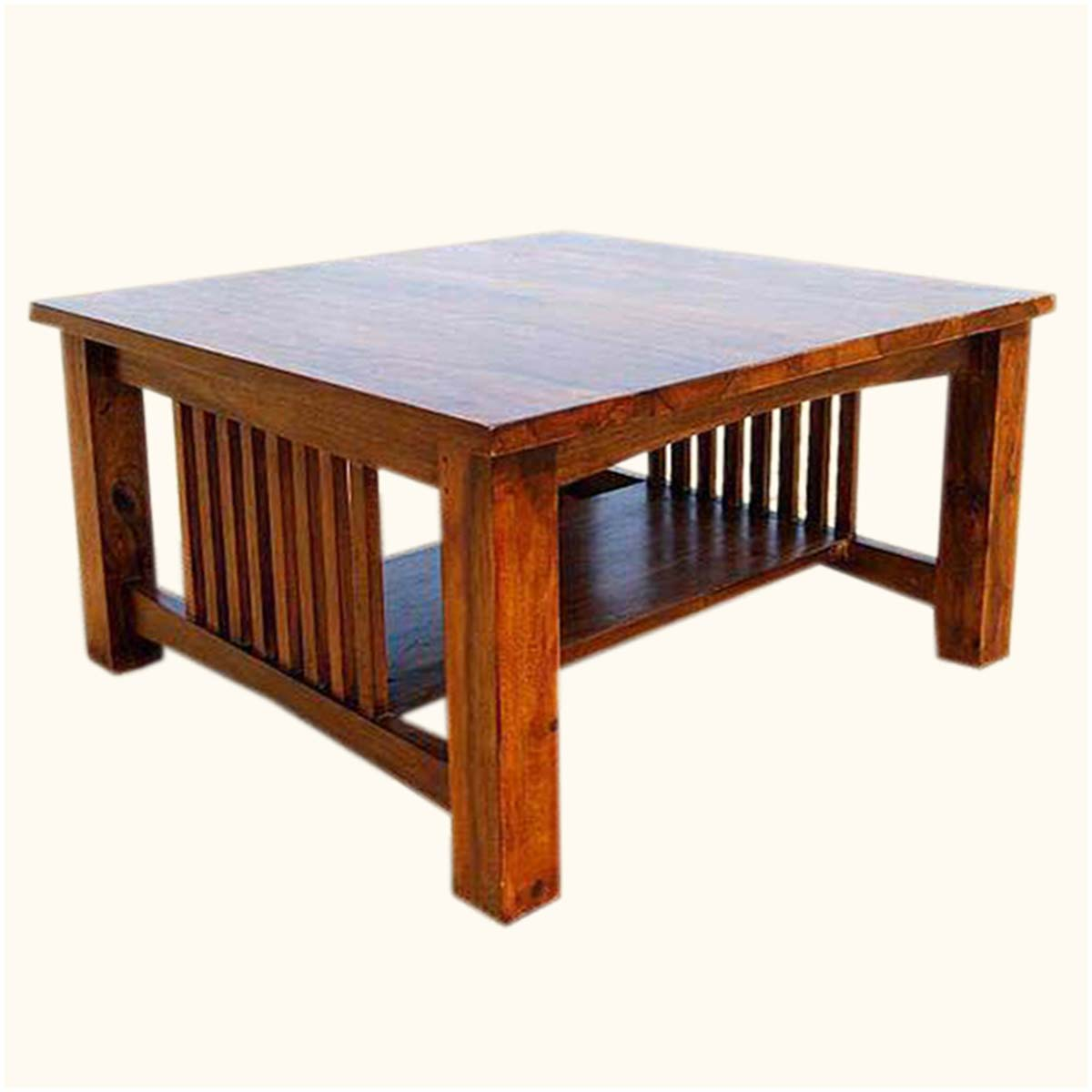 wood coffee table square photo - 10