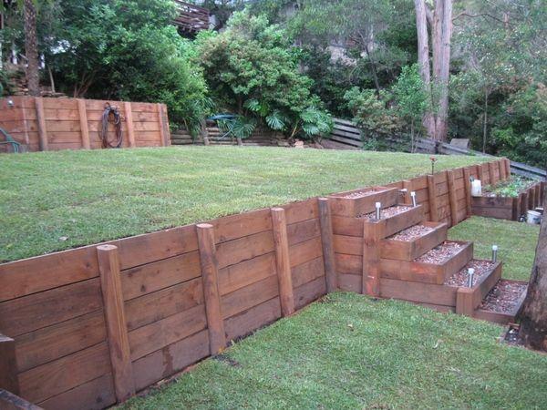 wood retaining wall design ideas photo - 5