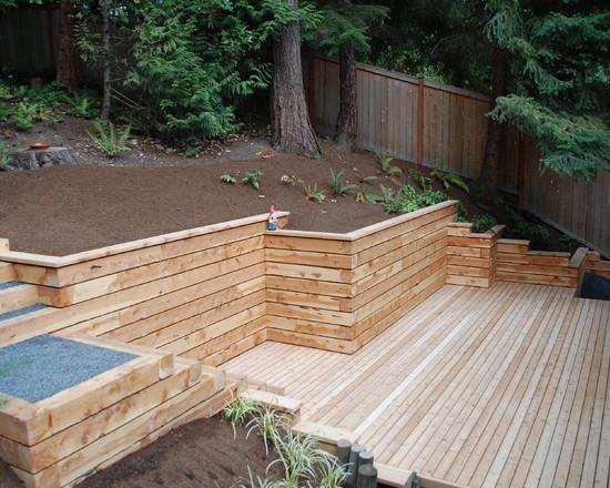wood retaining wall design ideas photo - 9