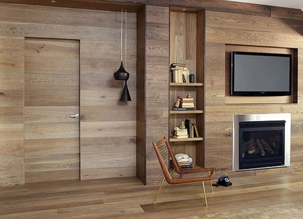 wood wall interior design photo - 4