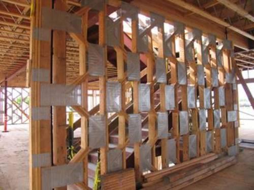 wood wall stud design photo - 3
