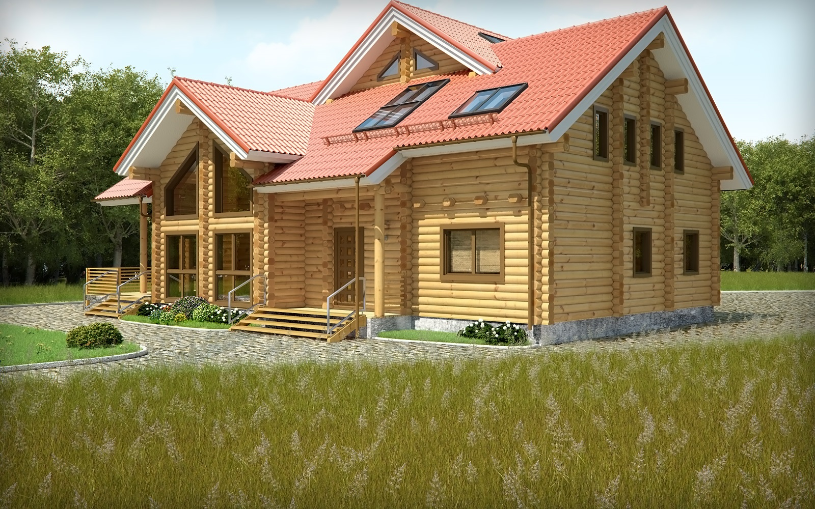 wooden country house design photo - 2