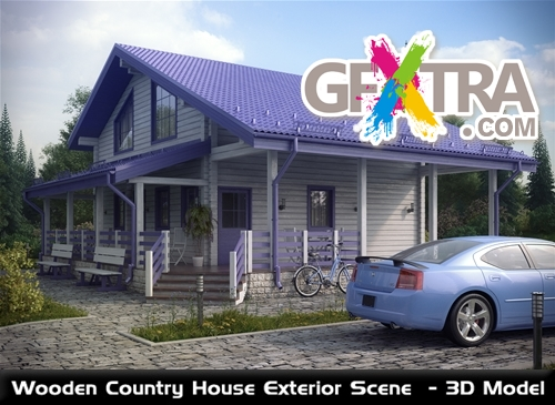 wooden country house exterior scene photo - 1