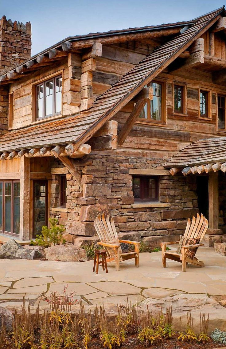 wooden country house exterior scene photo - 10