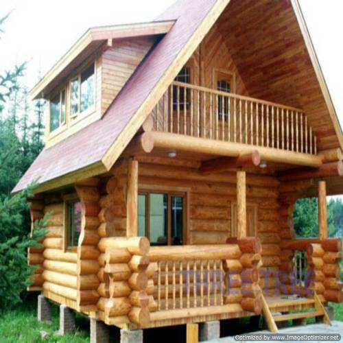 wooden country house exterior scene photo - 2