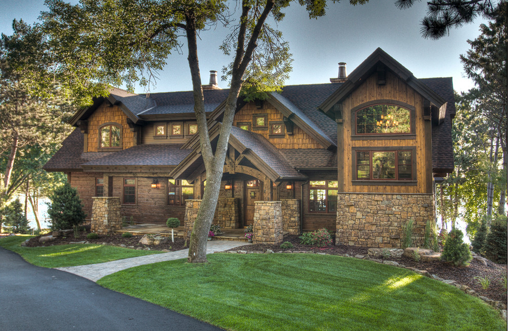 wooden country house exterior scene photo - 6