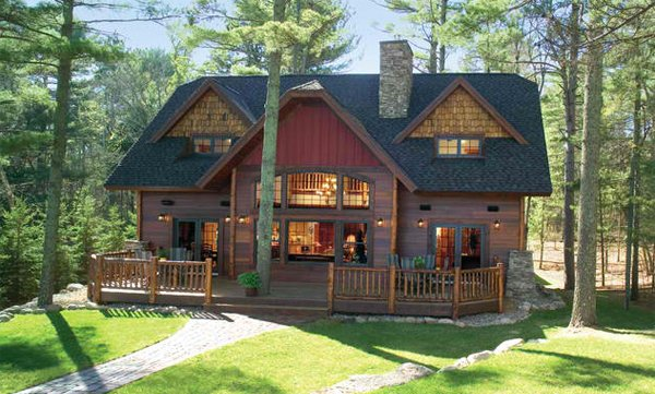 wooden country house exterior scene photo - 9
