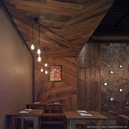 wooden wall design interior photo - 1