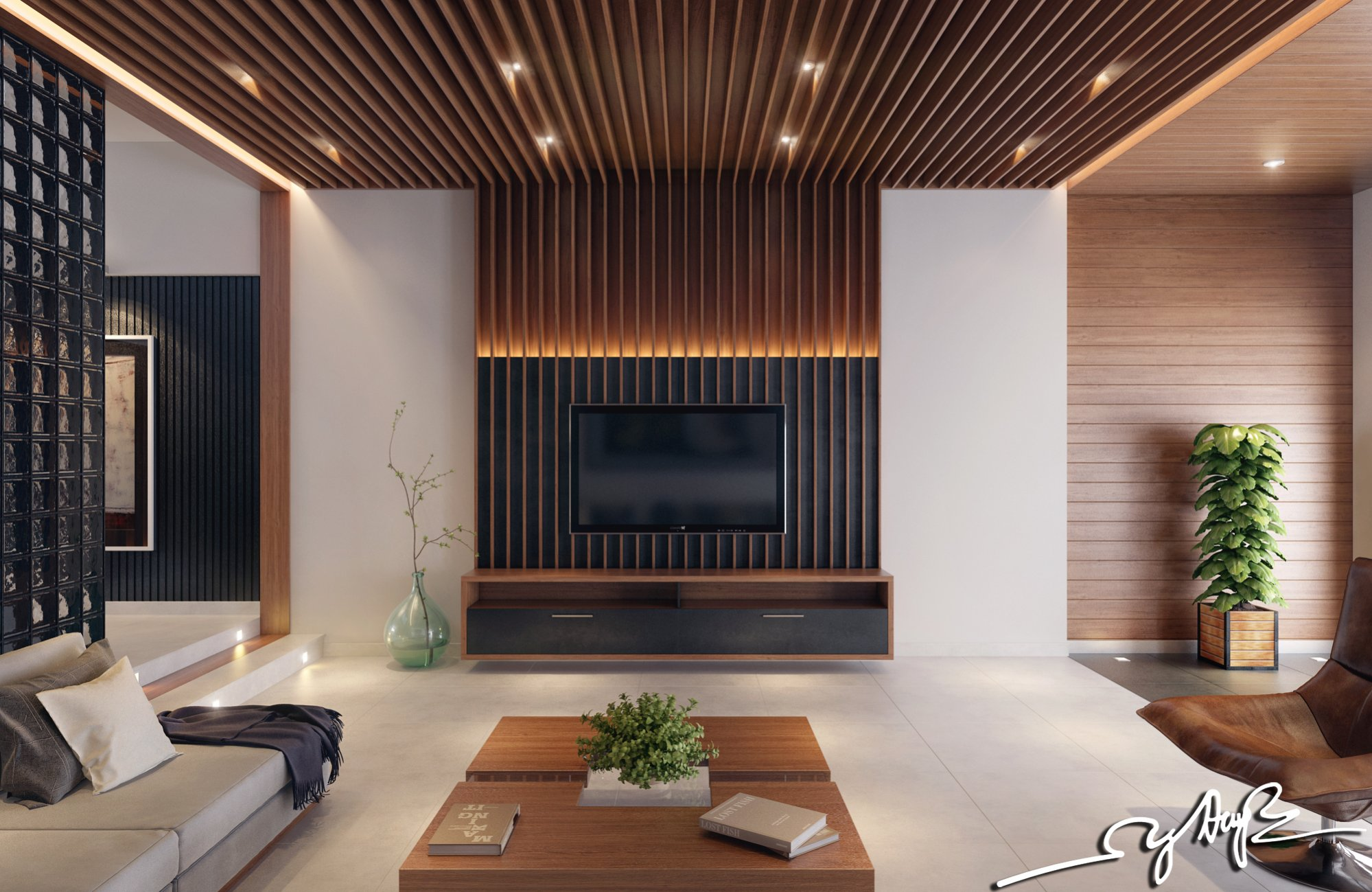 wooden wall design interior photo - 4
