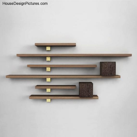 wooden wall shelves design photo - 1