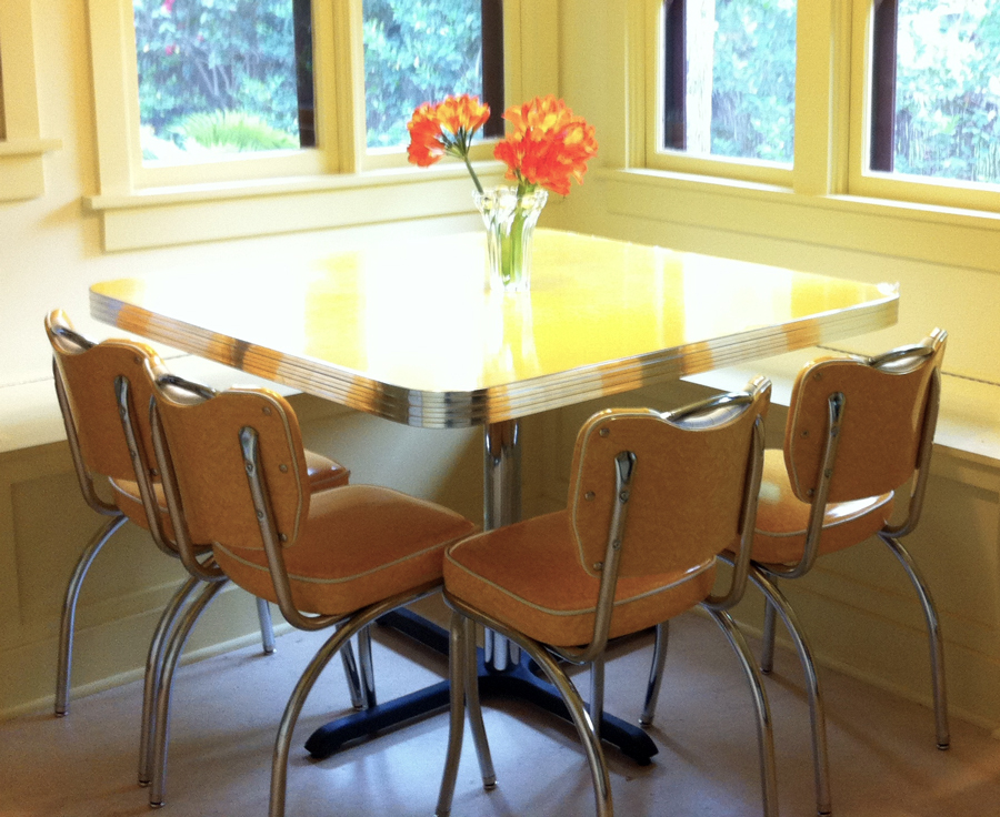 Yellow retro kitchen table chairs : retro table and chairs set - pezcame.com